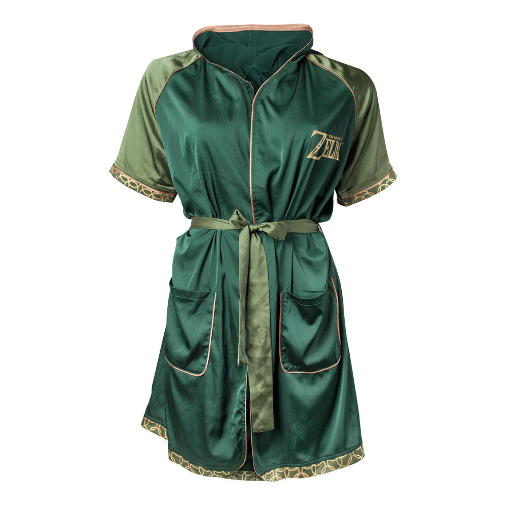 NINTENDO Legend of Zelda: Breath of the Wild Logo Satin Bath Robe, Female, Large/Extra Large, Green (RB323704BOW-L/XL)