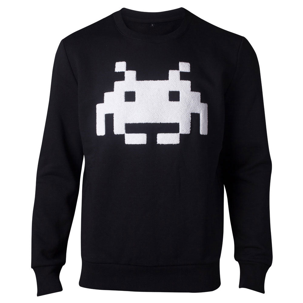 SPACE INVADERS Chenille Invaders Sweater, Male, Extra Extra Large, Black (SW324063SPI-2XL)