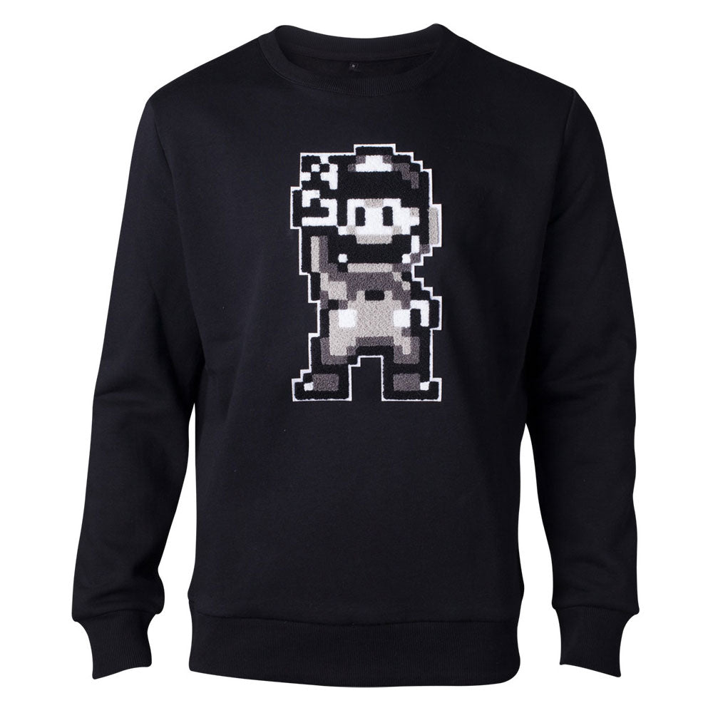 NINTENDO Super Mario Bros. Chenille 16-bit Mario Peace Sweater, Male, Small, Black (SW641233NTN-S)