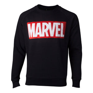 MARVEL COMICS Chenille Logo Sweater, Male, Extra Extra Large, Black (SW806672MVL-2XL)
