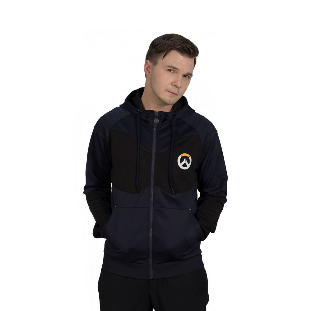 OVERWATCH Athletic Tech Full Length Zipper Hoodie, Male, Extra Large, Black/Blue (CHM007OW-XL)