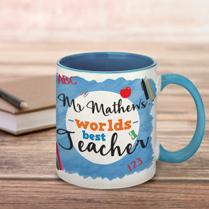Personalised World's Best Teacher Blue Mug Back To School