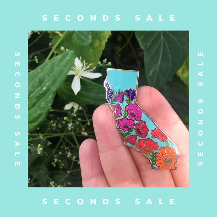 SECONDS SALE PIN - California Poppy Sunset - State Flower Hard Enamel Pin