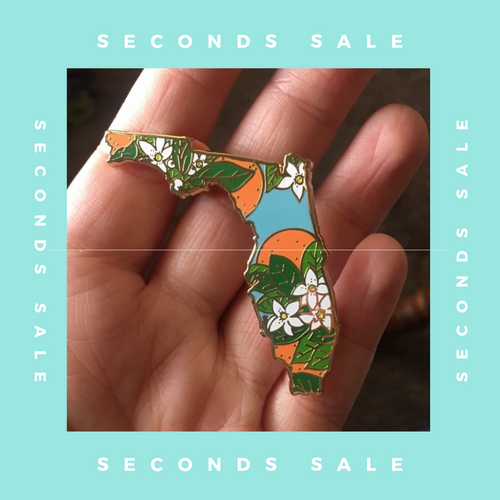 SECONDS SALE PIN - Florida Orange Blossom - State Flower Hard Enamel Pin