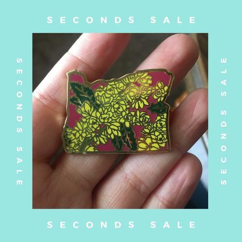 SECONDS SALE PIN - Oregon Grape - State Flower Hard Enamel Pin