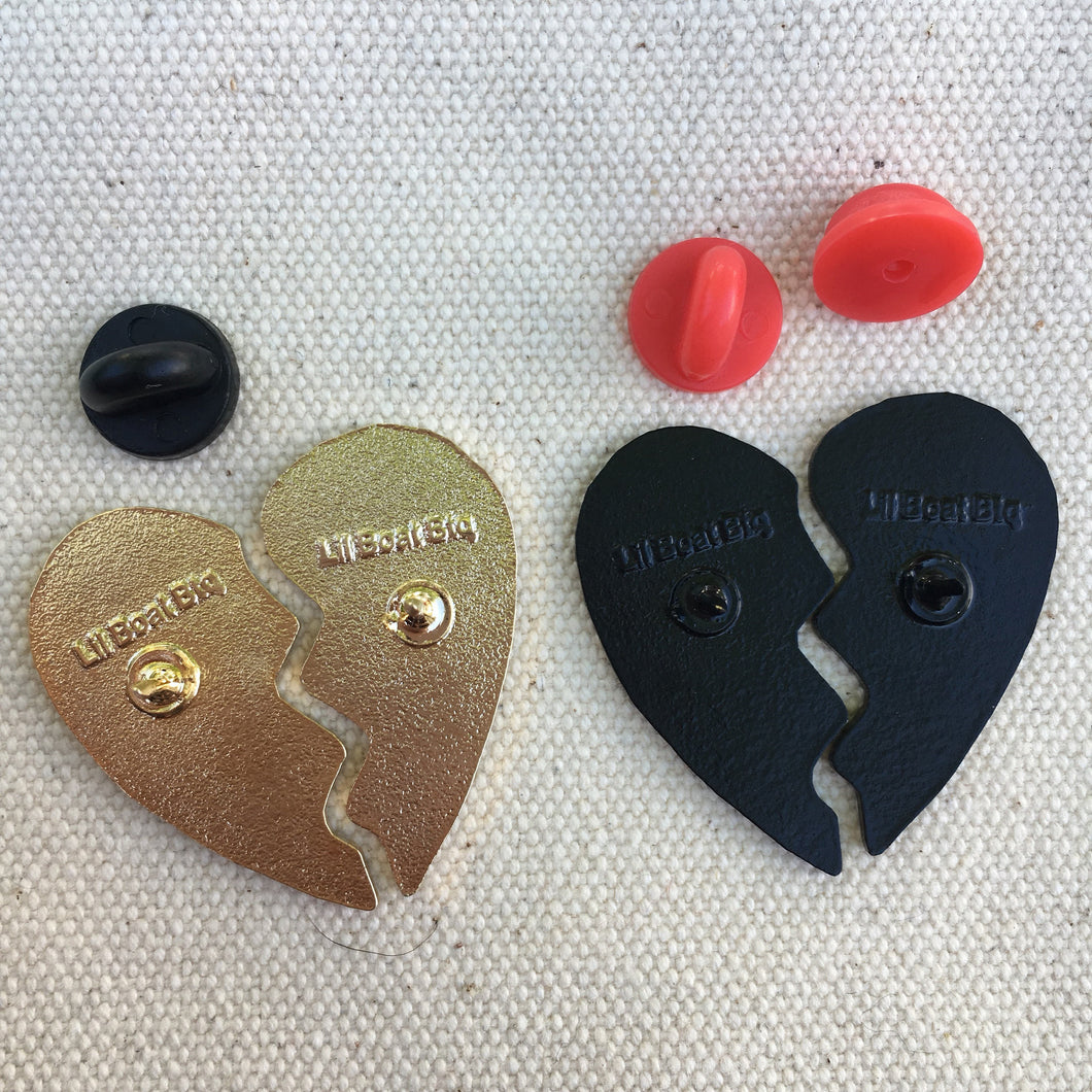 Damn Fine Heart Pin Set - Gold and Black