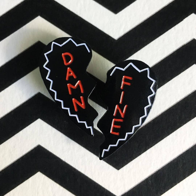 Damn Fine Heart Pin Set - Black and Red