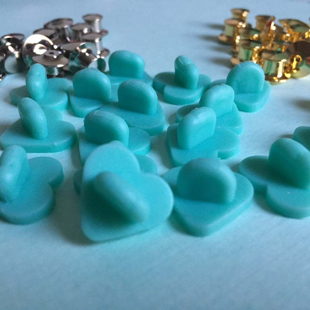 Heart-Shaped Rubber Pin Backs - Teal