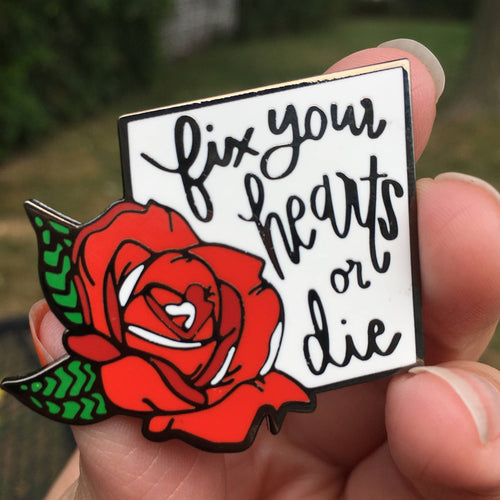 Fix Your Hearts - RED ROSE Charity Pin for Trans Rights