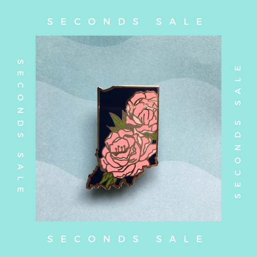 SECONDS SALE PIN - Indiana Peony State Flower Hard Enamel Pin