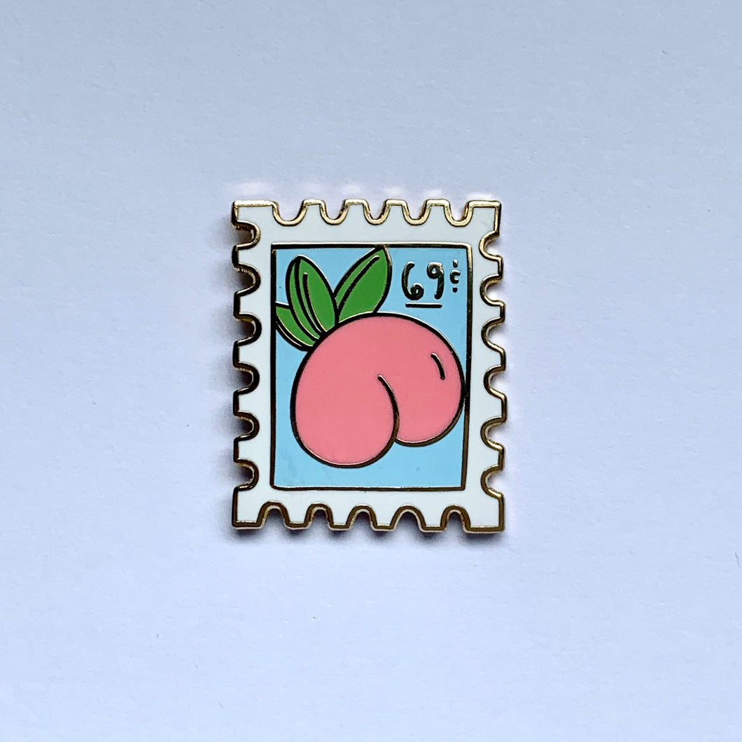 69c Peach Postage Stamp Enamel Pin - Save the USPS