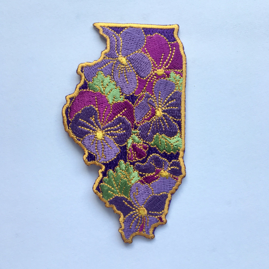 Illinois Violet State Flower Embroidered Patch Lil Boat Boutique