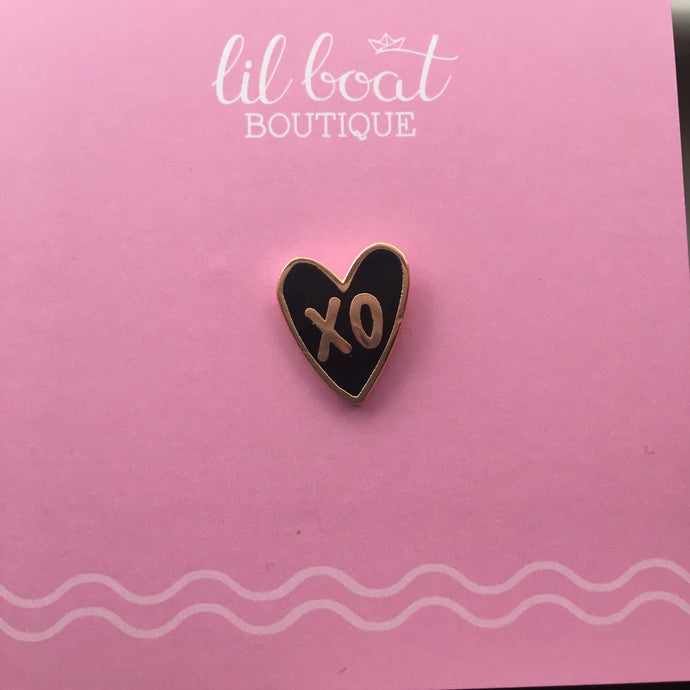 xo Heart - Black and Rose Gold - Mini Board Filler - Hard Enamel Pin