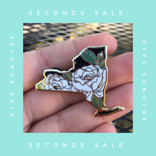 SECONDS SALE PIN - New York Rose State Flower Hard Enamel Pin