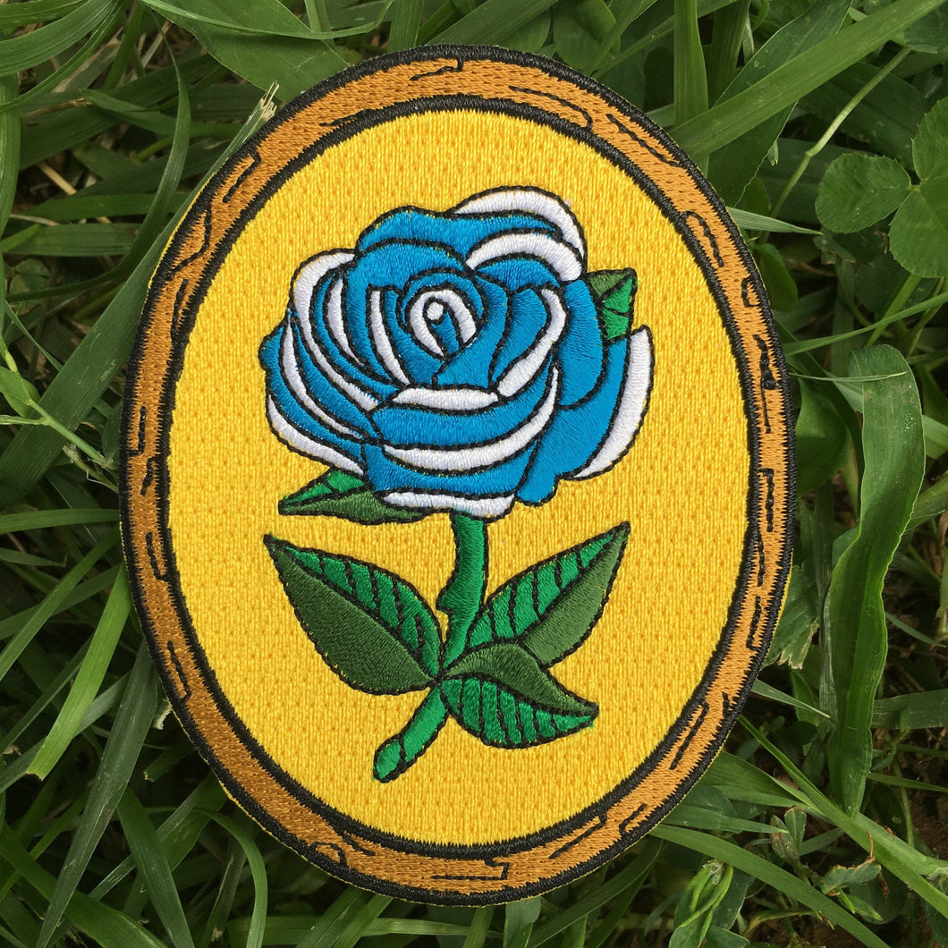 Antique Flower in Frame - Embroidered Patch - Blue Rose