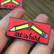 Art Is Hard - Black Nickel Hard Enamel Pin - Red Apple Variant