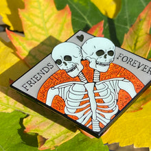 Friends Forever - Orange Glitter - Spooky Halloween Conjoined Skeleton Enamel Pin