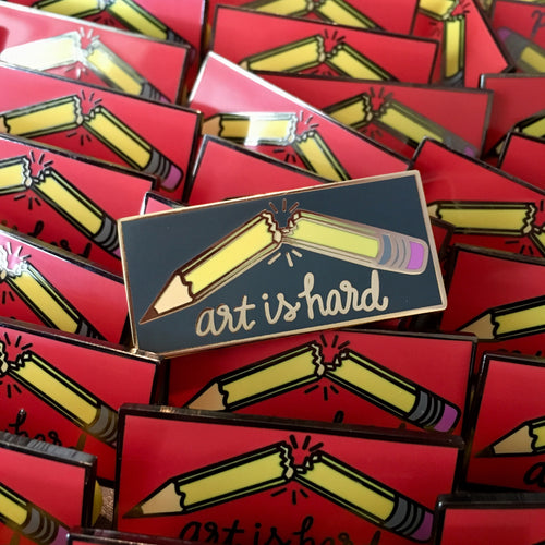 Art Is Hard - Grey and Gold Hard Enamel Pin - Creator's Club Variant