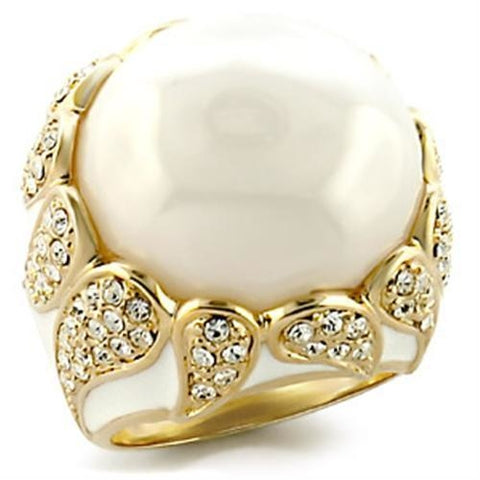 Gold Plated Brass Ring with Milky CZ in White - ZG INDUSTRIES LLC