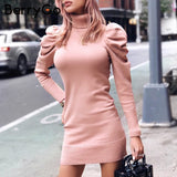 Turtle neck bodycon knitted dress women Puff shoulder pink sweater dress winter female Sexy ladies autumn short vestidos - ZG INDUSTRIES LLC