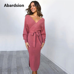Women's Knitted Sweater Dress Wrap Belted Tunic Midi Vestidos Long Sleeve Double V Neck Split Casual - ZG INDUSTRIES LLC