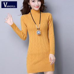 Vangull Autumn Winter Solid Knitted Cotton Sweater Dresses New Women Fashion Turtleneck Pullover Female Knitted Dress Vestidos - ZG INDUSTRIES LLC