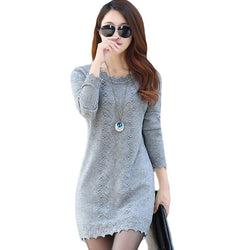 Women Sweaters Dress Pullovers 2019 New Winter Warm Long Knitted Sweater Knitwear Poncho Tunics Gray Black Beige Plus Size D005 - ZG INDUSTRIES LLC