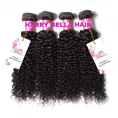 4 Bundles Brazilian Virgin Jerry Curly Hair With Lace Closure 10A - HARRY BELLA