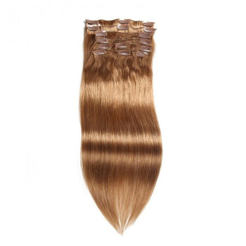 #12 Light Brown Virgin Hair Extensions Clip In Hair 8Pcs/set 10A - HARRY BELLA