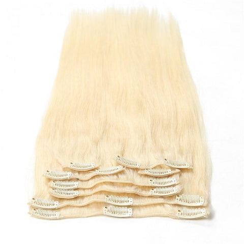 #60 Platium Blonde Clip In Hair Virgin Hair Extensions 8Pcs/set 8A - HARRY BELLA