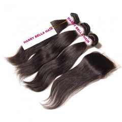 3 Bundles Peruvian Straight Hair Weft With Closure 10A