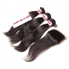 3 Bundles Peruvian Straight Hair Weft With Closure 8A