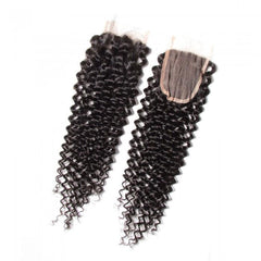 4Pcs Malaysian Jerry Curly Hair Weft With Closure 8A