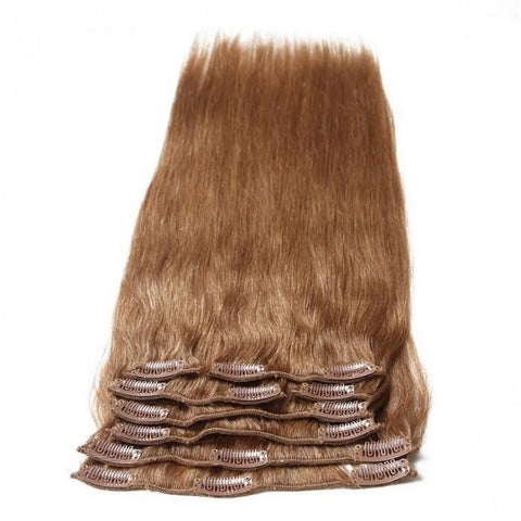 #12 Light Brown Virgin Hair Extensions Clip In Hair 8Pcs/set 8A - HARRY BELLA