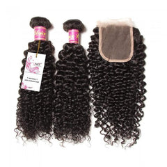 3pcs Malaysian Jerry Curly Hair Wefts With Closure- 10A