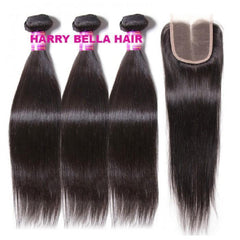 3 Bundles Peruvian Straight Hair Weft With Closure 10A - HARRY BELLA