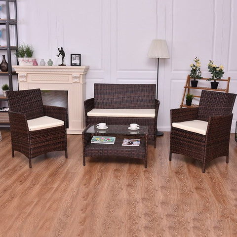 4PCS Outdoor Patio PE Rattan Wicker Coffee