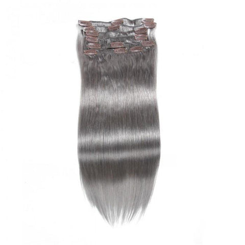 #80 Grey Clip In Hair Extensions Virgin Hair Extensions 8Pcs/set 8A - HARRY BELLA