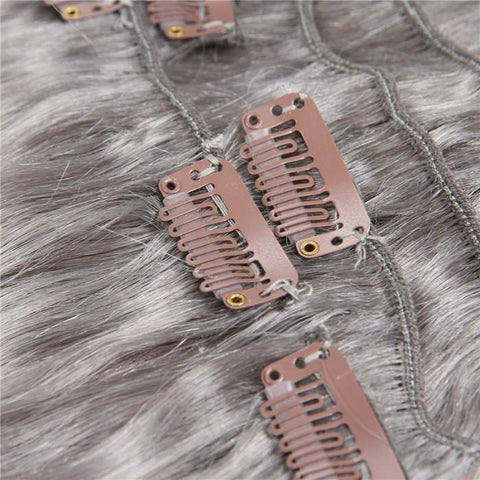 #80 Grey Clip In Hair Extensions Virgin Hair Extensions 8Pcs/set 10A - HARRY BELLA
