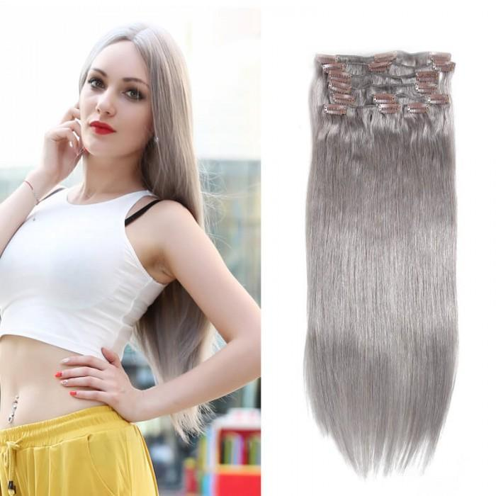 80 Grey Clip In Hair Extensions Virgin Hair Extensions 8pcsset 8a