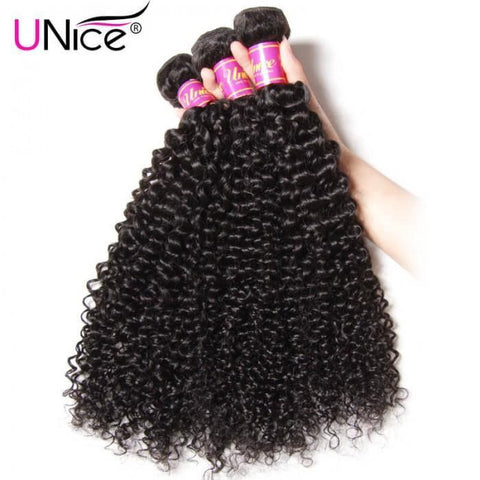 3pcs Malaysian Jerry Curly Hair Wefts With Closure- 10A - HARRY BELLA