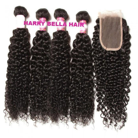4 Bundles Brazilian Virgin Jerry Curly Hair With Lace Closure 7A - HARRY BELLA