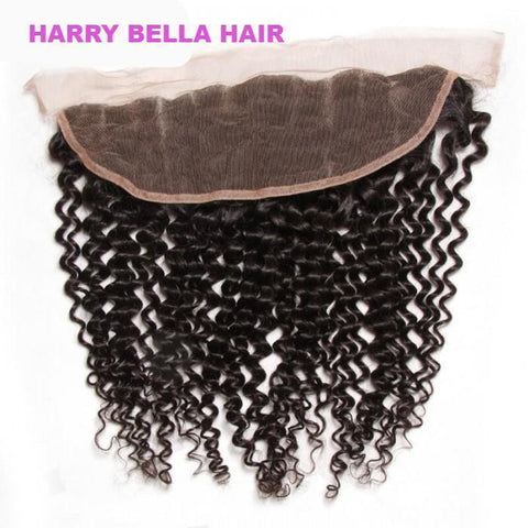 3pcs Jerry Curly Hair Weft With Lace Frontal Closure 10A - HARRY BELLA