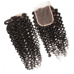 4 Bundles Brazilian Virgin Jerry Curly Hair With Lace Closure 7A