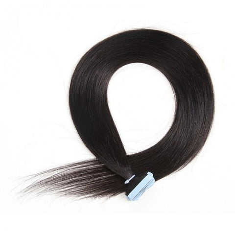 20pcs 50g Straight Tape In Hair Extensions #1B Natural Black 100% Virgin Hair- 10A - HARRY BELLA