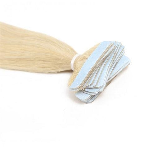 20pcs 50g Straight Tape In Hair Extensions #60 Platium Blonde 100% Virgin Hair- 10A - HARRY BELLA