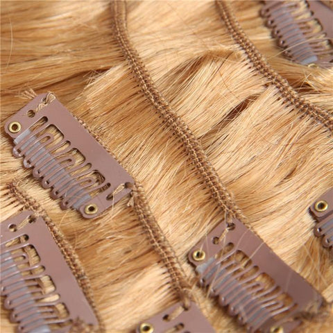 8 Pieces Full Head Clip in Hair Extensions Ombre Brown Blonde 8A - HARRY BELLA