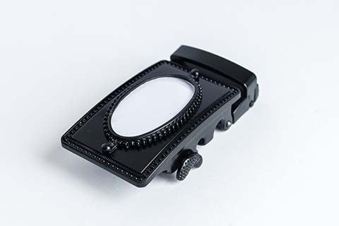 Black buckle with oval picture frame