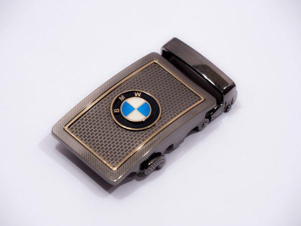 BMW Silver Brick Pattern Gold Frame