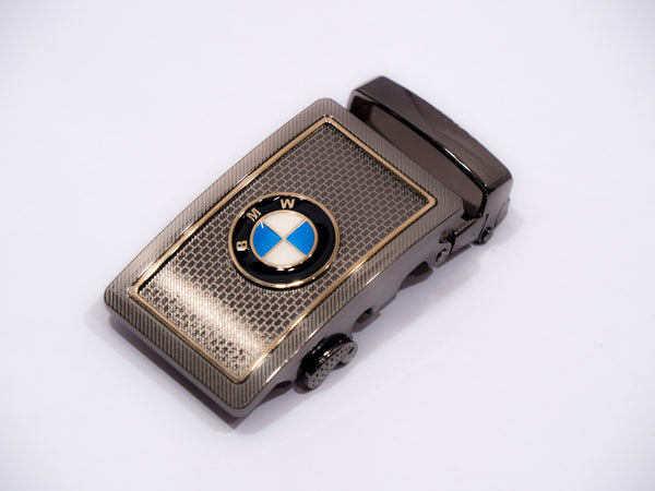 Gold BMW on Steel Brick Pattern